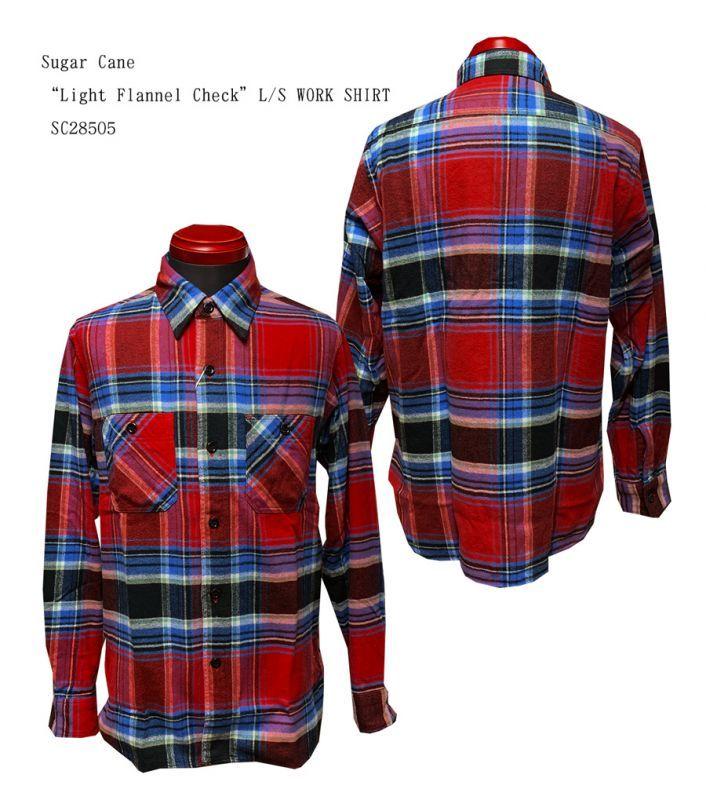 "SC28505 Sugar Cane""Light Flannel Check""L/S WORK SHIRT"