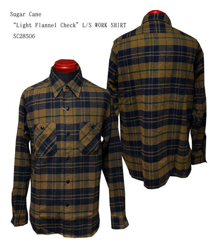 "SC28506 Sugar Cane""Light Flannel Check""L/S WORK SHIRT"